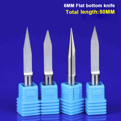 6mm Shank AAA Carbide Flat Bottom Engraving CNC Router Bits Carving Tools Cutter