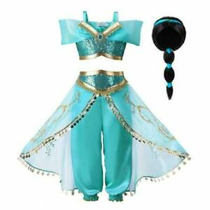 Princess-Jasmine-Cos-Costume-Outfit-Kids-Girls-Aladdin-Halloween-Dress-With-Wig