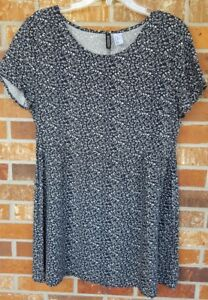 H-amp-M-Divided-Sz-10-Women-039-s-Floral-Short-Sleeve-Blue-White-Dress-Viscose