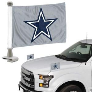 Dallas-Cowboys-Set-of-2-Ambassador-Style-Car-Flags-Trunk-Hood