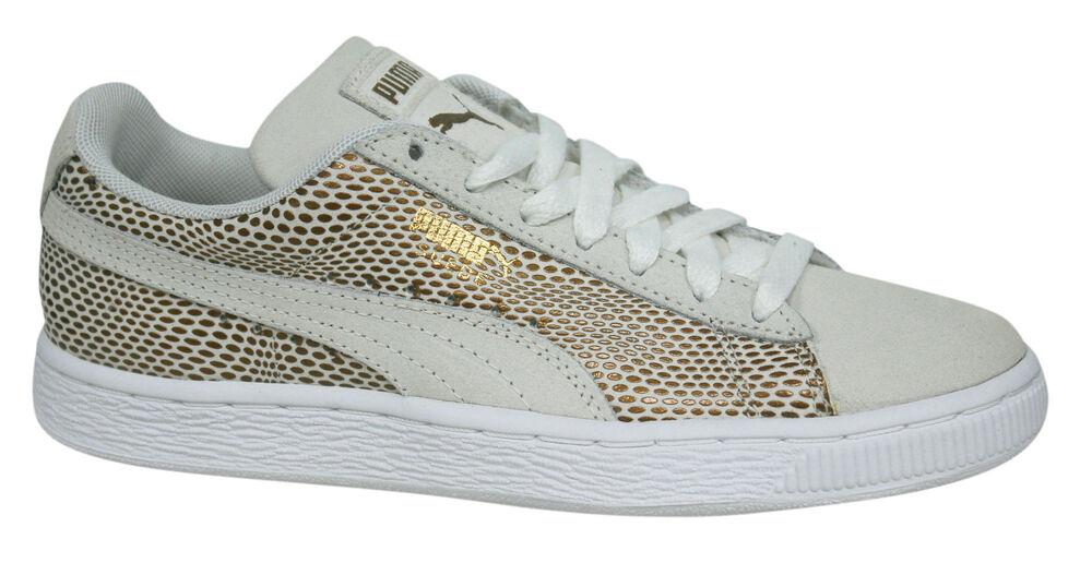 Puma en Daim Femmes Lacet Baskets Cuir Doré Blanc 361862 02 D1
