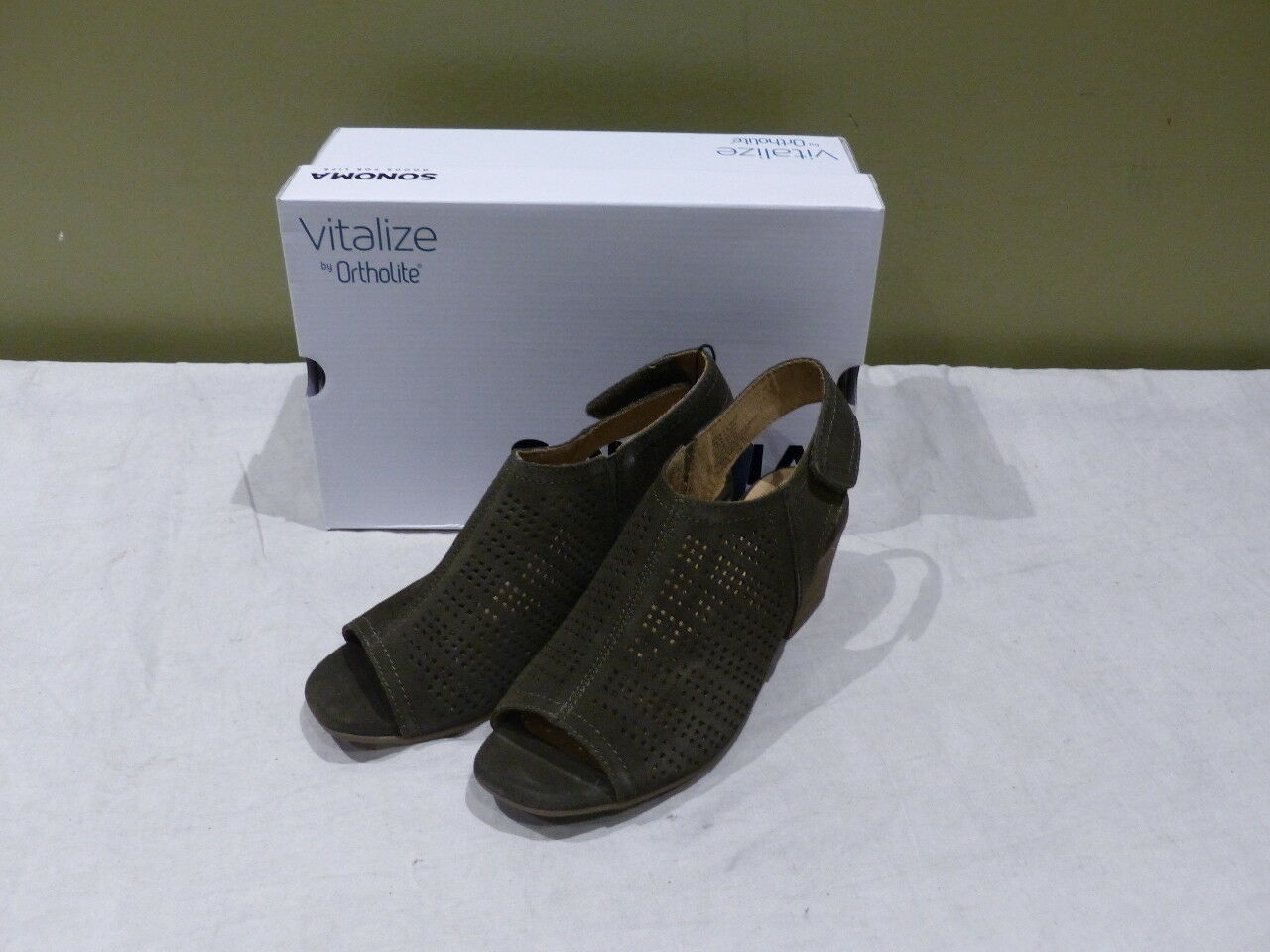 SONOMA LISBETH WOMENS OLIVE WOMENS LISBETH HEELS SZ 8.5 WIDE ADJUSTABLE FIT ANKLE BOOTS 5479ac