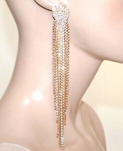 ORECCHINI-donna-oro-strass-dorati-pendenti-fili-lunghi-cristalli-eleganti-G3