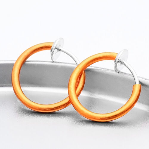 2Pcs Multicolor Fake Nose Hoop Ring Clip On Septum Lip Earrings Piercing Jewelry