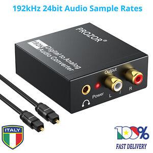 Convertitore DAC 192kHz Digitale Audio Toslink a Stereo analogico L/R RCA 3.5mm