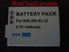 Battery for NIKON EN-EL12 Coolpix S710 S630 S620 P310 S6300 S9300 1400mAh Canada