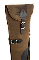 Hound Engraved Brown Leather Shotgun Slip Case - Limited Edition Design