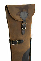 Hound Engraved Brown Leather Shotgun Slip Case - Limited Edition Design