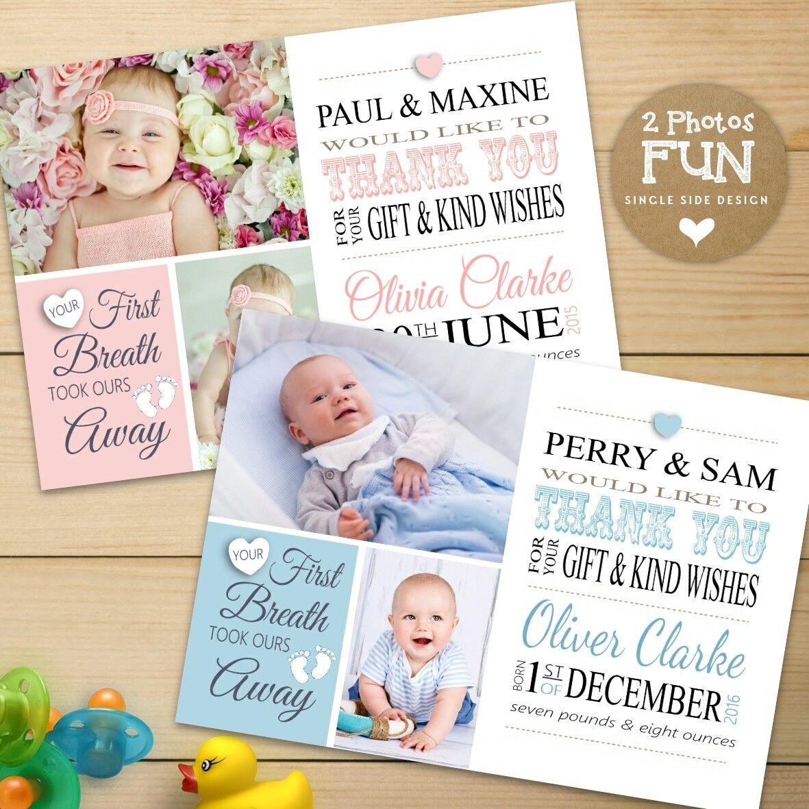 Personnalisée garçon/anniversaire/Baptême. Photo merci cartes ~ bébé fille ou garçon/anniversaire/Baptême. Personnalisée 8701bb