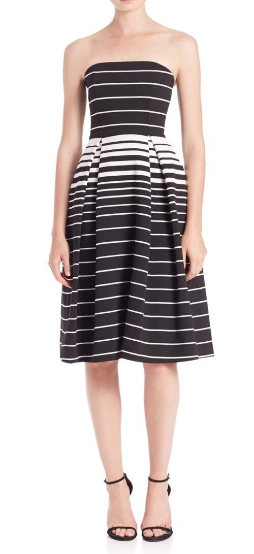 N Nicholas Woherren Dress Größe 2 Corsica schwarz Weiß Stripe Strapless Ball