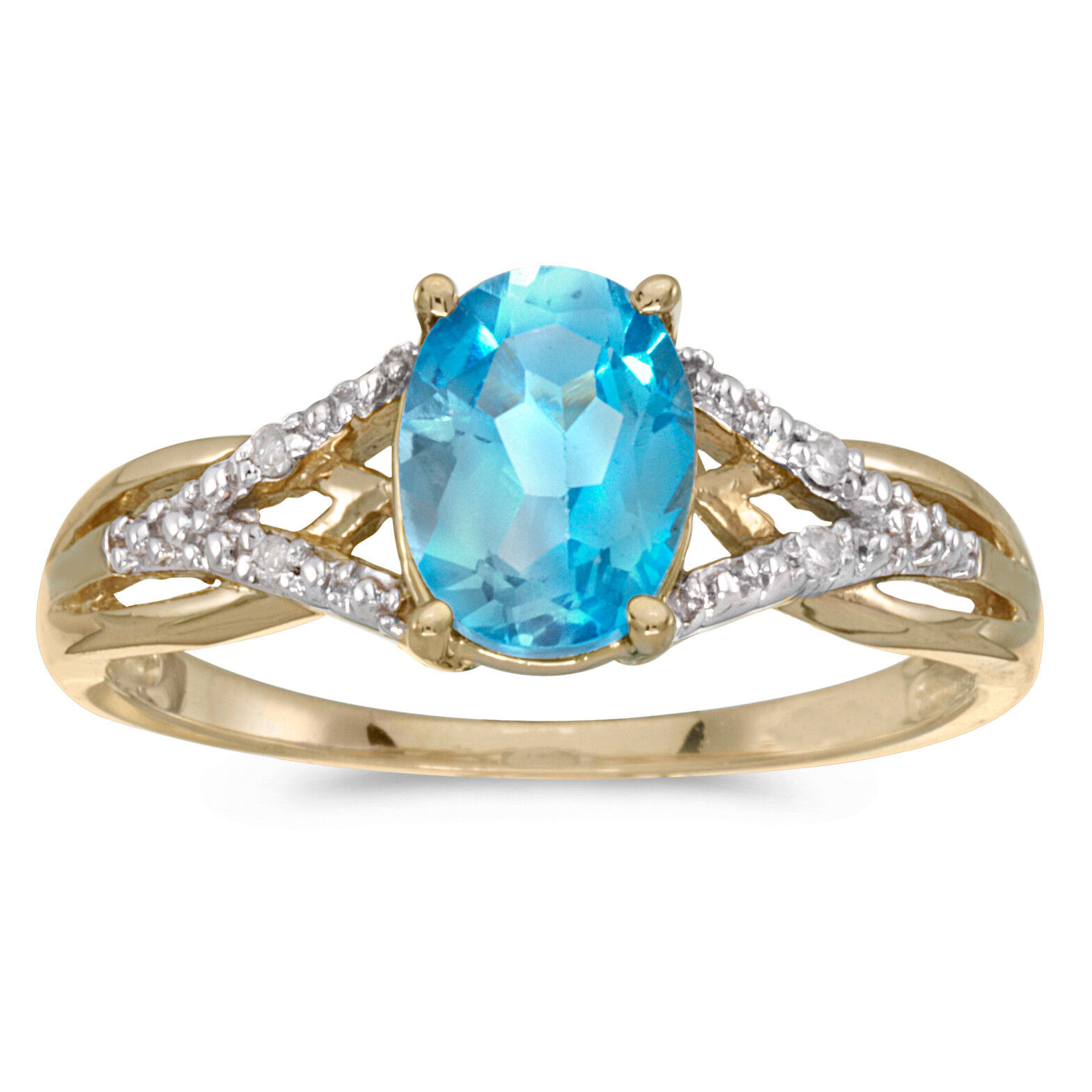 14k Yellow gold Oval bluee Topaz And Diamond Ring