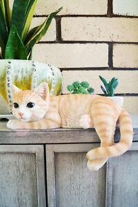 "9"" ORANGE PRONING CAT FIGURINE  STATUE LIFELIKE COLLECTIBLE ANIMAL HOME DECOR"