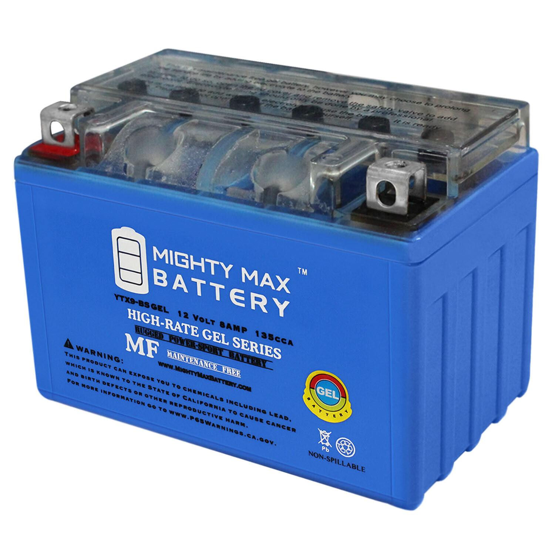 12V 2Amp Charger Mighty Max YTX9-BS 12V 8AH Battery for Polaris P500 Predator