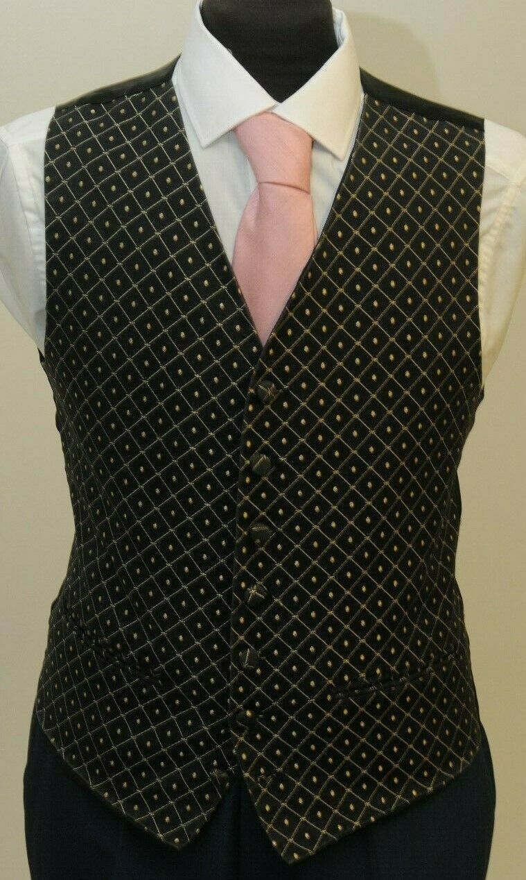 MENS/BOYS BLACK WITH GOLD DETAIL WAISTCOAT FORMAL/EVENING/PROM/WEDDING W-1065