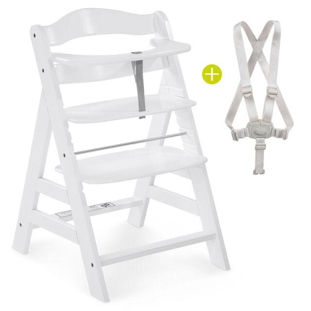 Hauck Hochstuhl Holz Baby Kinder Alpha Plus - White / bis 90 kg, verstellbar