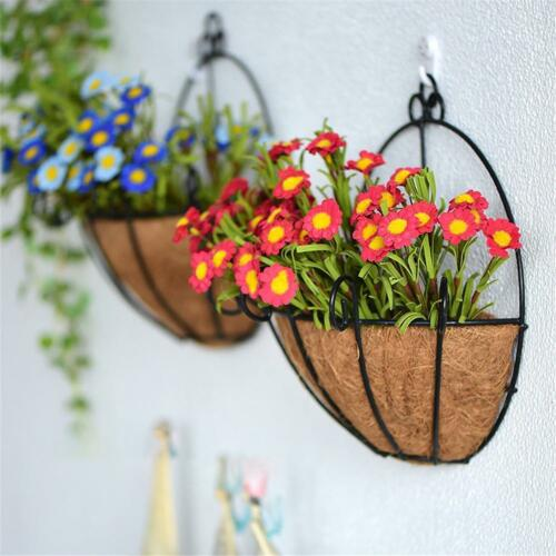Hanging Wall Artificial Fake Silk Violet orchid Flower Rattan Basket Decor SH