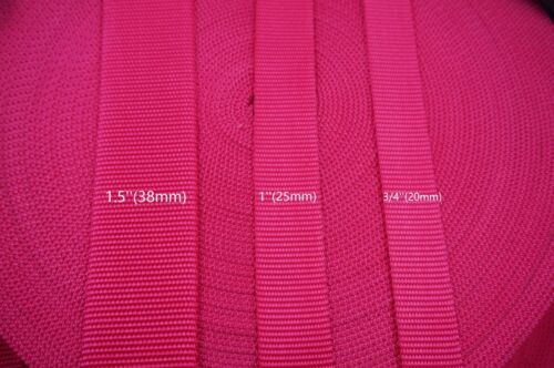 Dark Pink Heavy Weight Nylon Webbing 3 Sizes choice 10 Yards