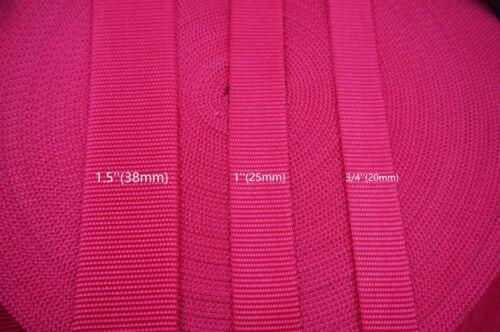 Dark Pink Heavy Weight Nylon Webbing 3 Sizes choice 10 Yards