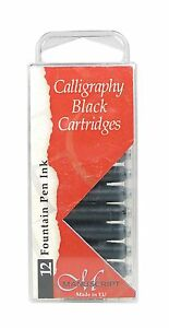 12-BLACK-MANUSCRIPT-INK-CARTRIDGES-INTERNATIONAL-SIZE-FOUNTAIN-PEN-MC0461CB
