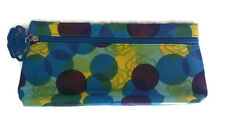 Lancome Paris Travel Cosmetic Makeup Bag Blue Green Yellow Polka Dot Rose Fob