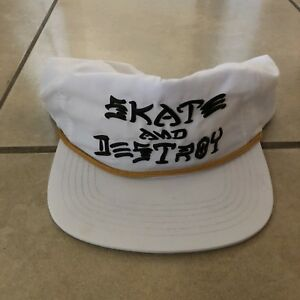 9ab07515278 Image is loading THRASHER-SKATE-AND-DESTROY-PUFF-INK-SNAPBACK-WHITE-