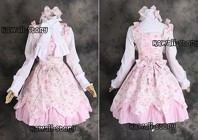 M-3264 S/M/L/XL/XXL pink blumen Lolita Kleid Bluse Cosplay Kostüm costume dress