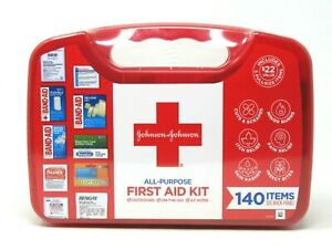 Johnson & Johnson All Purpose First Aid Kit with 140 Items Exp 02/2022