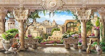 Italian Balcony Terrace Piazza Backdrop Wall Art Mural Wall Paper Adhesive Vinyl