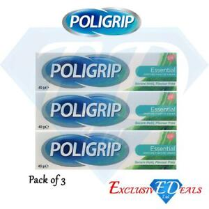3-x-Poligrip-Essential-Denture-Flavour-Free-Secure-Hold-Fixative-Cream-40g