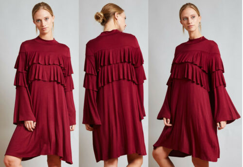 USA MADE WOMENS RUFFLE CASUAL LONG SLEEVE BOHO COMFY COCKTAIL PARTY DRESS S-3XL