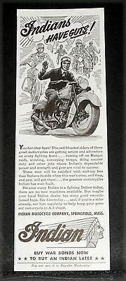 1943 OLD WWII MAGAZINE PRINT AD, INDIAN MOTOCYCLES HAVE GUTS, FIGHTING FRONT!