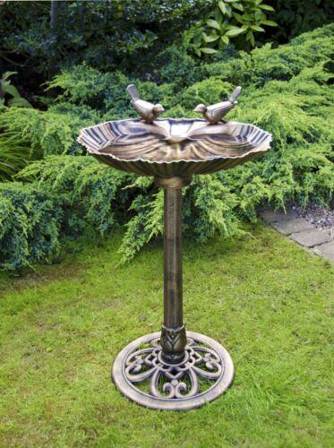 NEW BIRD BATH BRONZE EFFECT POLYRESIN OYSTER SHELL SHAPE TABLE STANDING PEDASTAL