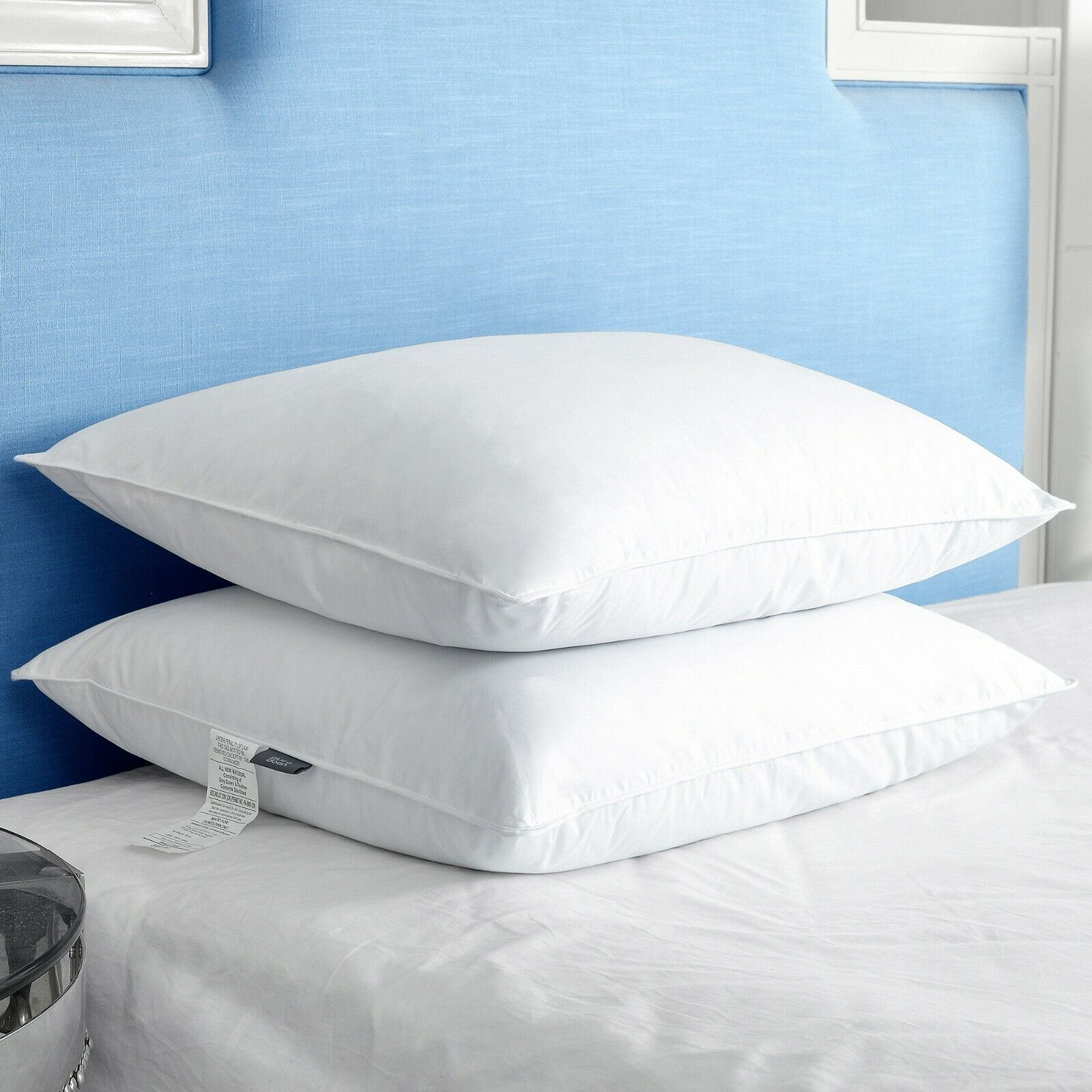 PUrotOWN Down & Feather Bett Pillows for Sleeping, Weiß, SET OF 2