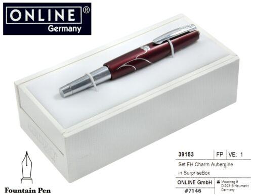 Gift Boxed Charm Aubergine Fountain Pen In Burgundy #39153 ONLINE Pens