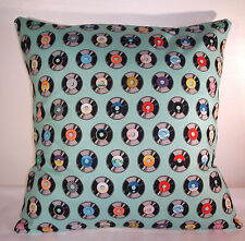 "BRAND NEW BLUE  RETRO COTTON VINYL  RECORDS CUSHION COVER 16""X16"""