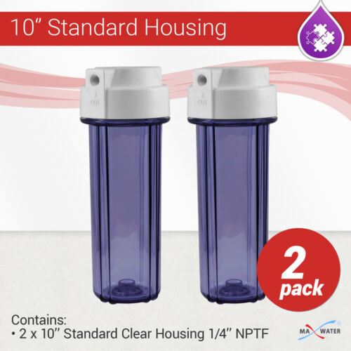 """2 X 10/"""" Osmose Inverse Filtre à Eau Violet Clair logement National 1//4/"""" Pipe Conique avec Double O ring"""