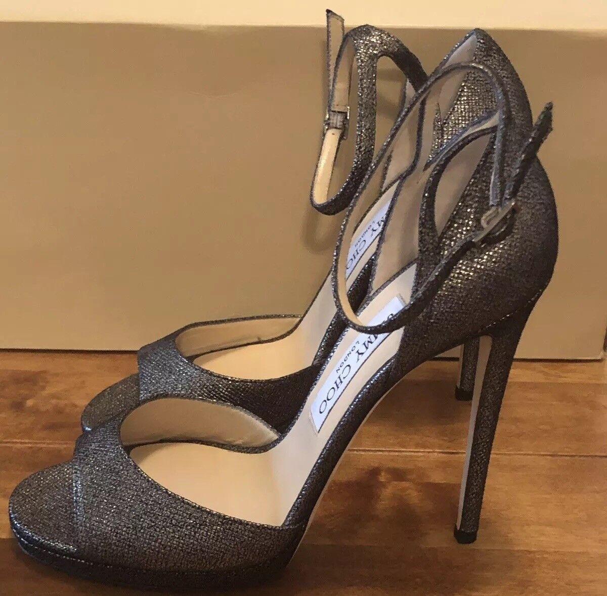 Jimmy Choo Black & Silver Glitter Lamé Fabric Peep-Toe Sandal UK 5 - Eu 38