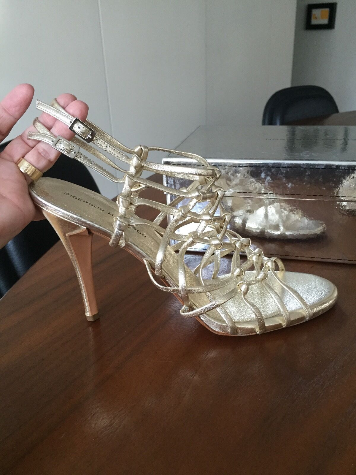 Sigerson Morrison Light gold Metallic Hi Heel Heel Heel Sandals sz 11 Made in  286255