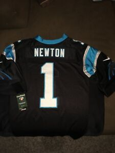 new concept c889c f5f0c Details about Cam Newton Jersey, all black w/ blue trim, brand new with  Nike tags & hologram