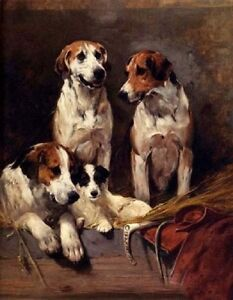 Art-Oil-painting-lovely-dogs-Three-Hounds-With-A-Terrier-on-canvas-66-No-Frame