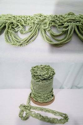 Vtg 60s GIMP Fabric Trim Upholstery Curtains Avocado Green Celery Green 5 YD 2/""