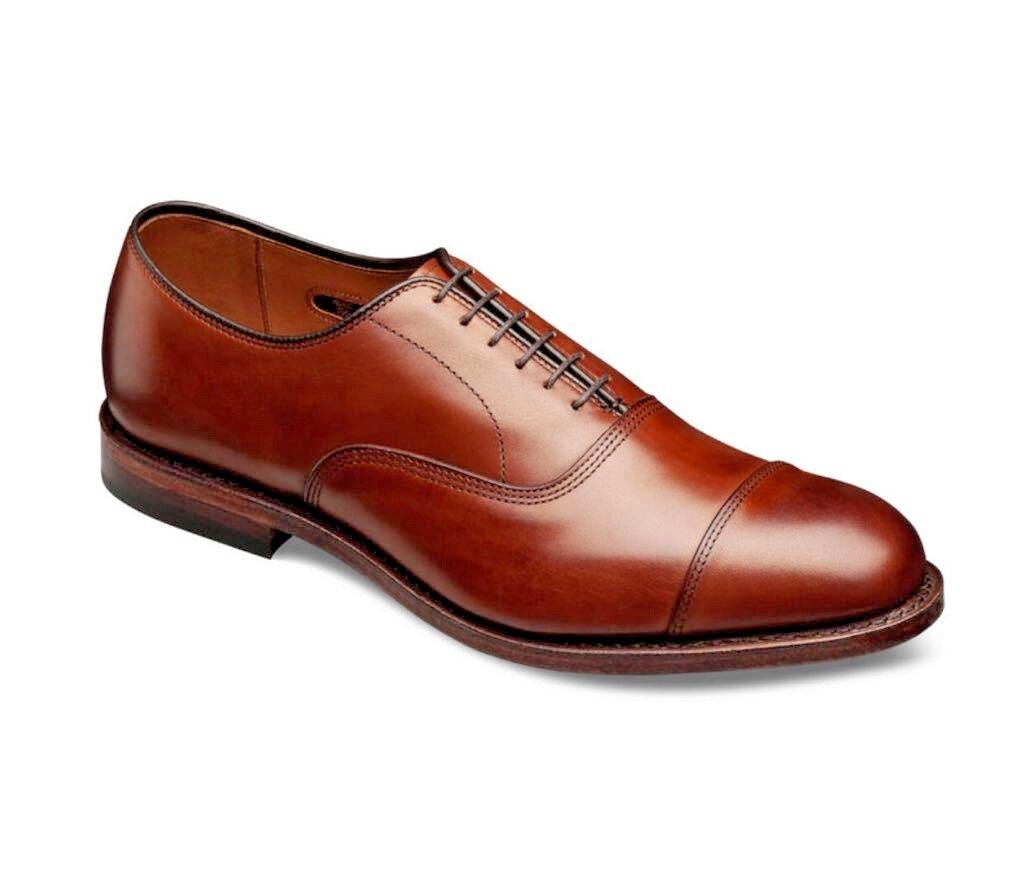 Hecho a mano para hombres Cuero Genuino tan Puntera Derby acordonados formal Zapatos