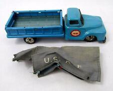 Vintage 1960's Japan Tin Friction Drive Haji US Air Force WW2 Blue Pick up Truck