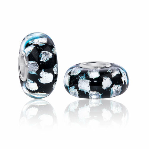 MATERIA Murano Glas Beads Anhänger Eisbrocken Glitzer 925 Silber schwarz weiß