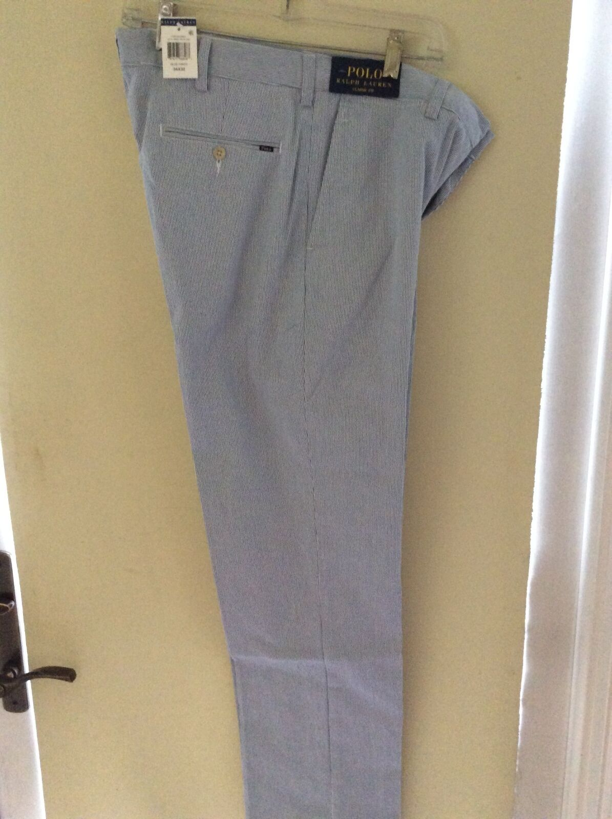 NEW RALPH LAUREN PANTS KHAKIS blueE WHITE PINSTRIPE CLASSIC FIT FLAT FRONT 36 34