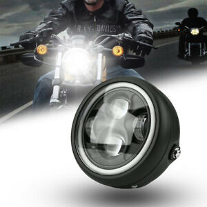 """7/"""" Motorcycle Round Halo Angel Eye LED CREE Headlight Projector w//DRL For Harley"""