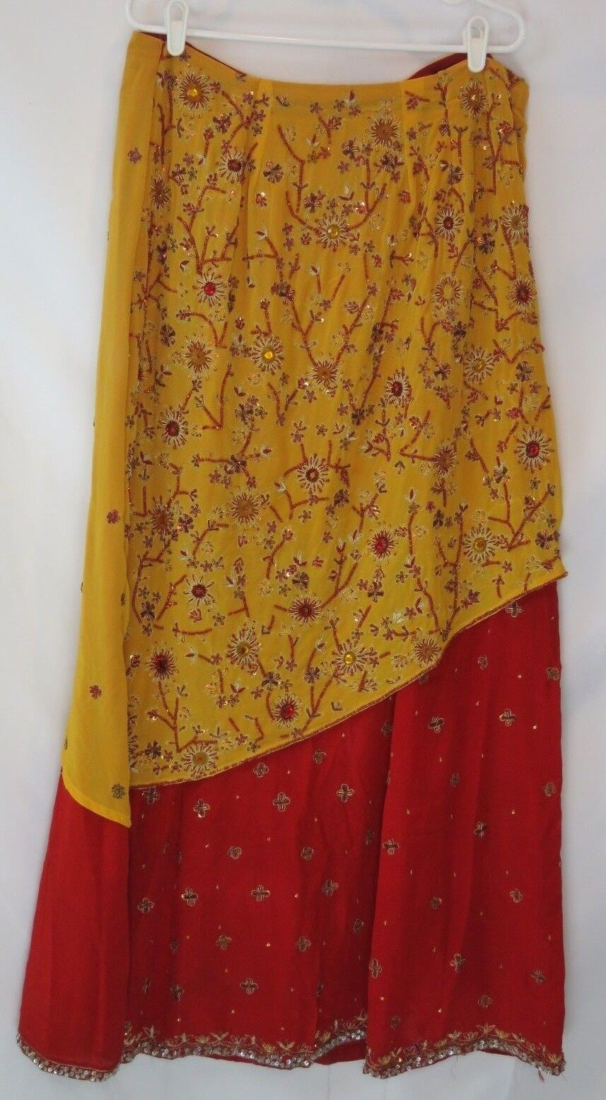 Indian Women Long Skirt Red gold Hand Beaded & Sewn Metalwork w Scarf