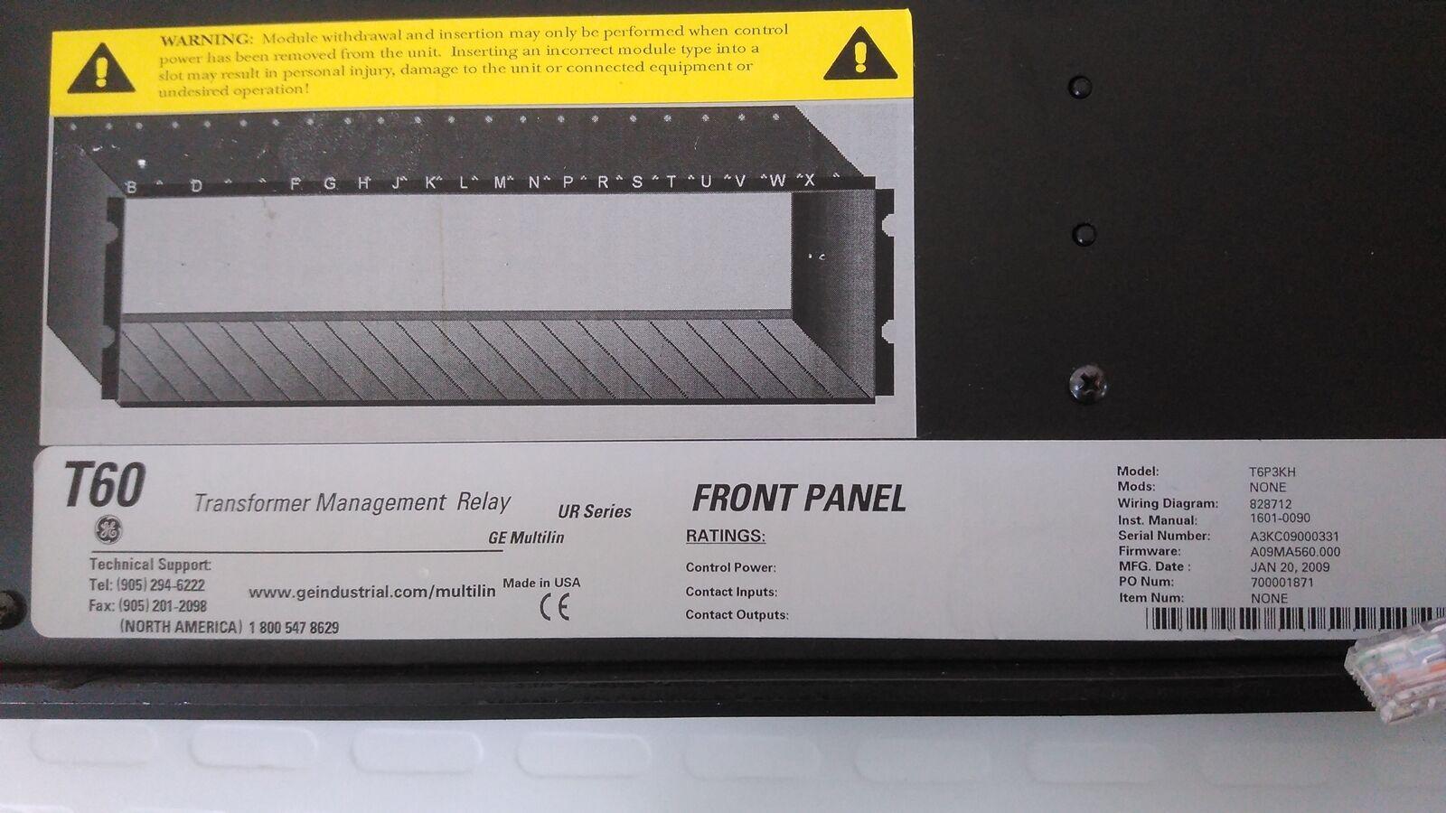 ge multilin t6p3kh front panel t60 transformer management relay rh ebay com ge t60 user manual ge t60 user manual