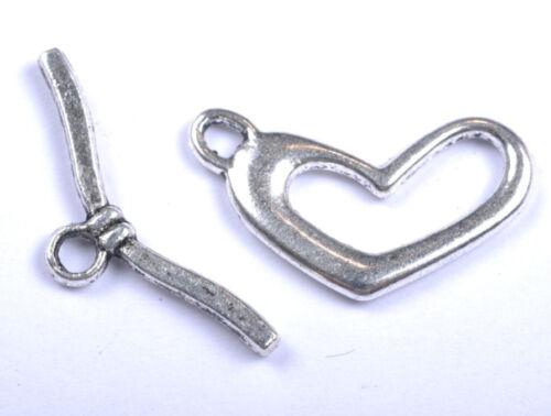 10pair Tibetan Silver Heart Toggle diy Clasps 22X12mm JK0772