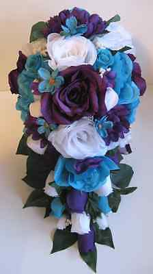 11pcs Wedding Cascade Bouquet Bridal Silk flowers TURQUOISE PURPLE WHITE